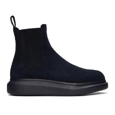 Alexander McQueen Navy Suede Chelsea Boots