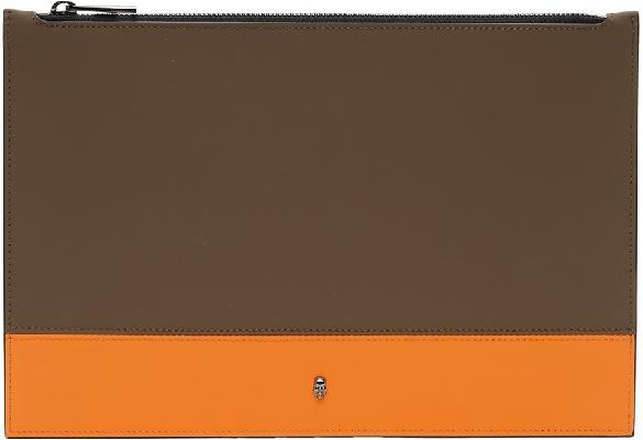 Alexander McQueen SSENSE Exclusive Khaki & Orange Flat Zip Pouch