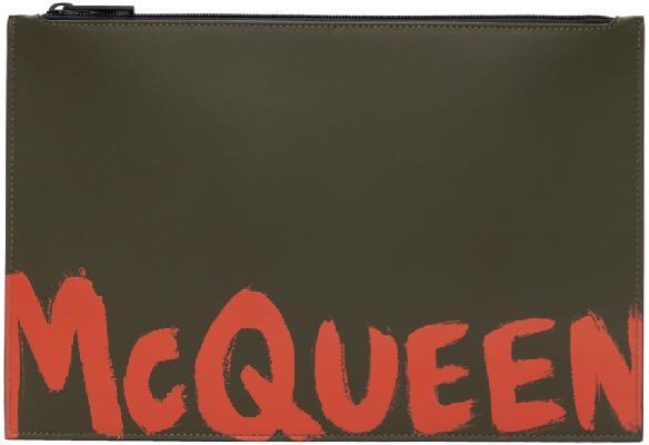 Alexander McQueen Khaki Graffiti Pouch