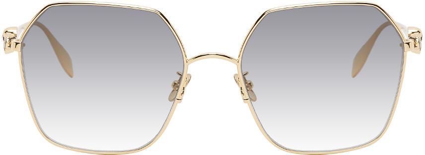 Alexander McQueen Gold Skull Droplets Hexagonal Sunglasses
