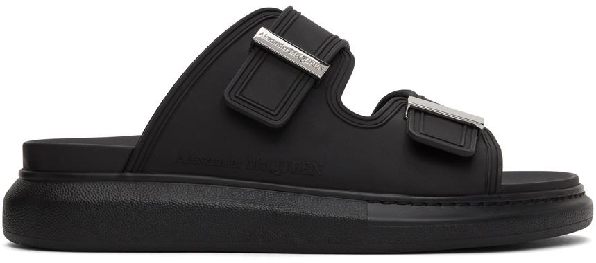 Alexander McQueen Black Rubber Hybrid Slides