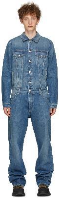 Alexander McQueen Blue Denim Turned-Up Jumpsuit