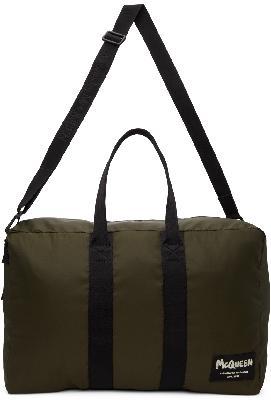 Alexander McQueen Khaki Tag Zipped Duffle Bag