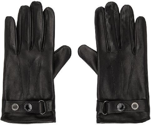 Alexander McQueen Black & Silver Leather New Biker Gloves