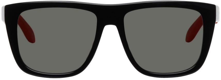 Alexander McQueen Black & Red Court Sunglasses