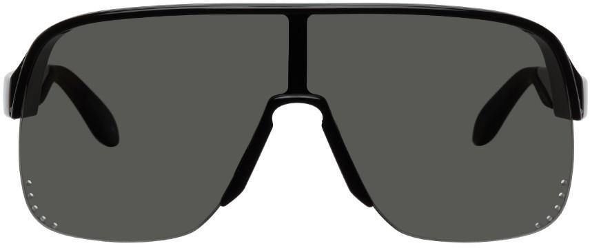 Alexander McQueen Black Semi-Rimless Shield Sunglasses