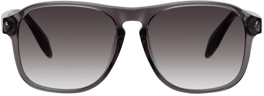 Alexander McQueen Grey Square Sunglasses