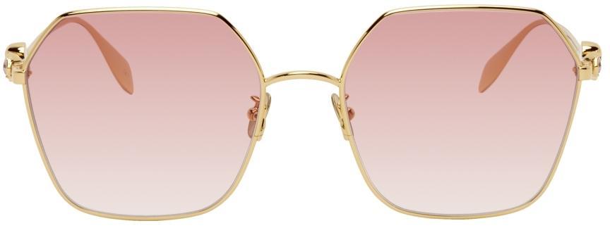 Alexander McQueen Gold & Red Skull Droplets Hexagonal Sunglasses