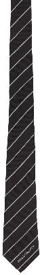 Alexander McQueen Black & White Silk Ruled Logo Tie