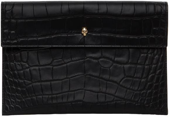Alexander McQueen Black Croc Envelope Pouch