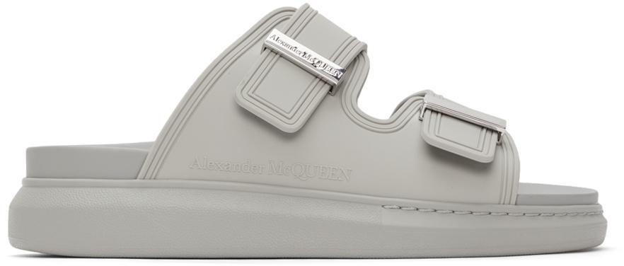 Alexander McQueen Grey Rubber Hybrid Slides