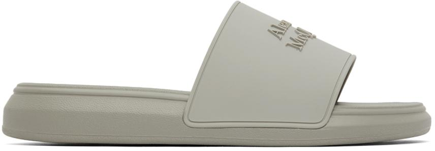 Alexander McQueen Grey Logo Pool Slides