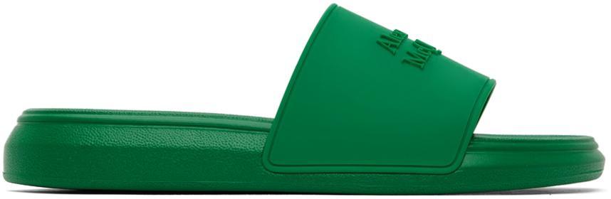 Alexander McQueen Green Logo Pool Slides