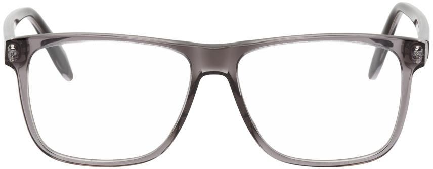 Alexander McQueen Grey Rectangular Glasses