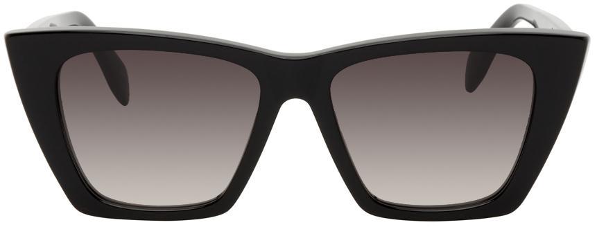 Alexander McQueen Black Cat-Eye Sunglasses