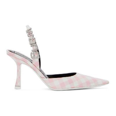 Alexander Wang Pink & White Gingham Grace Slingback Heels
