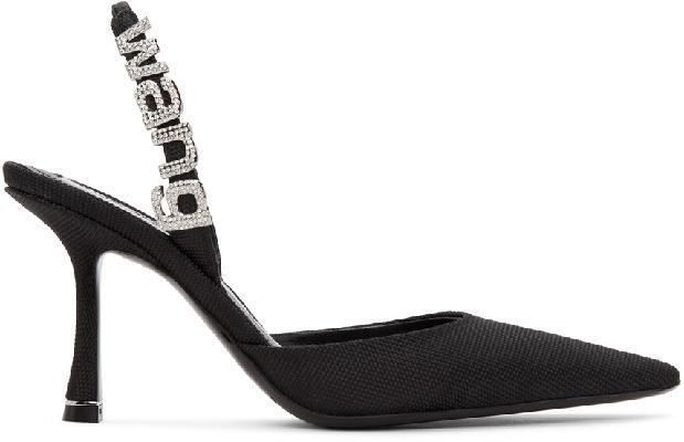 Alexander Wang Black Canvas Grace Slingback Heels
