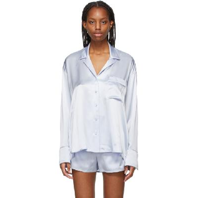 alexanderwang.t Blue Silk Embroidered Pajama Shirt