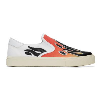 AMIRI White & Red Flame Slip-On Sneakers