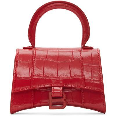 Balenciaga Red Croc Mini Hourglass Bag