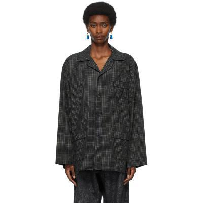 Balenciaga Navy & Khaki Pajama Shirt