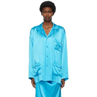 Balenciaga Blue Silk Fluid Pajama Shirt