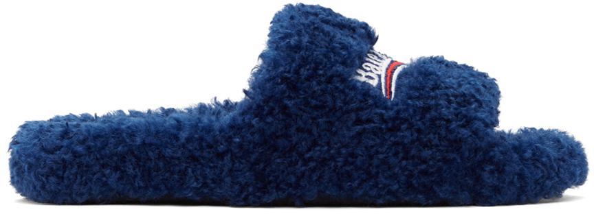 Balenciaga Blue Furry Slide Sandals