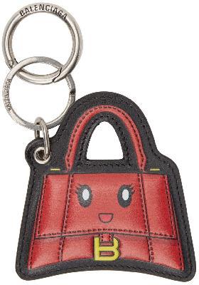 Balenciaga Red & Black Hourglass Mirror Keychain