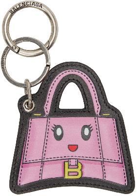 Balenciaga Pink Hourglass Mirror Keychain