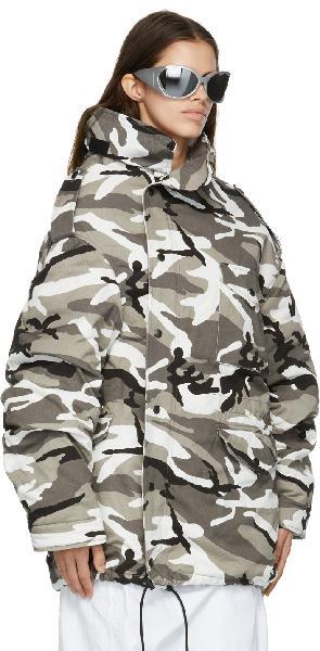Balenciaga Grey Off-Shoulder Military Parka