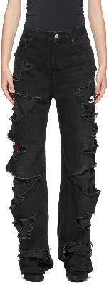 Balenciaga Black Slashed Relaxed-Fit Jeans