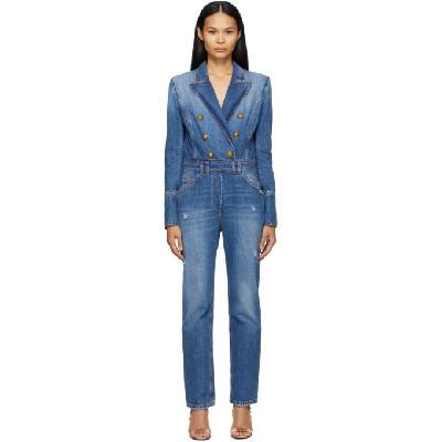 Balmain Blue Denim Vintage Jumpsuit