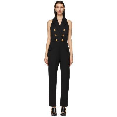 Balmain Black Wool 6-Button Jumpsuit