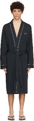 Boss Navy Cotton Kimono Robe