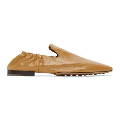 Bottega Veneta Tan Square Toe Loafers