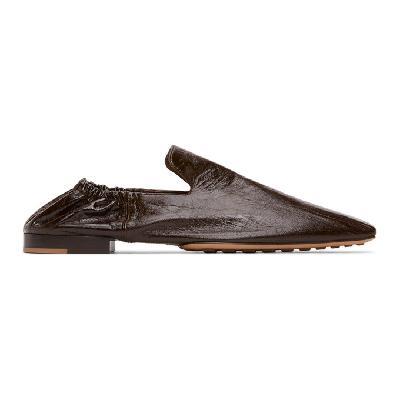 Bottega Veneta Black Leather Square Toe Loafers