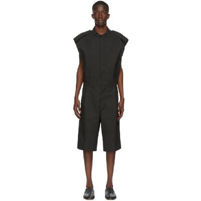 Bottega Veneta Black Coated Twill Jumpsuit