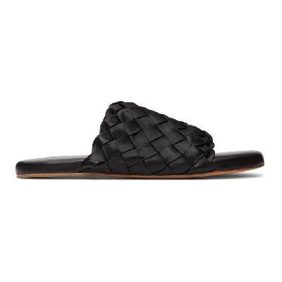 Bottega Veneta Black Intrecciato Slides