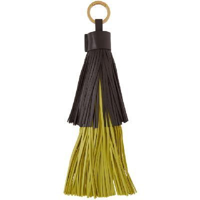 Bottega Veneta Brown & Green Fringe Keychain