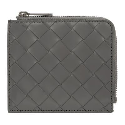 Bottega Veneta Grey Intrecciato Zip Around Wallet