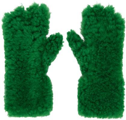 Bottega Veneta Green Shearling Gloves