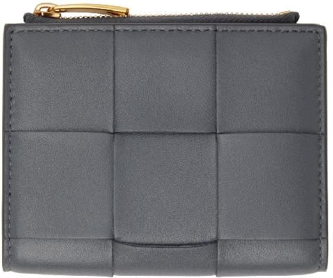 Bottega Veneta Grey Intrecciato Small Bifold Zip Wallet