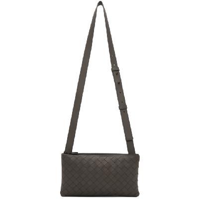 Bottega Veneta Grey Intrecciato Messenger Bag