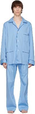 Brioni Blue Logo Embroidered Pyjama Set