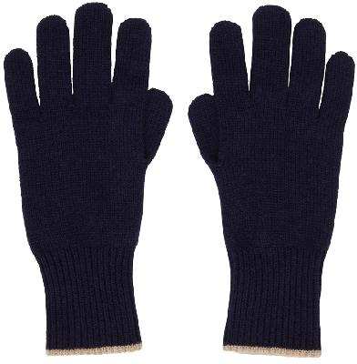 Brunello Cucinelli Navy Cashmere Gloves