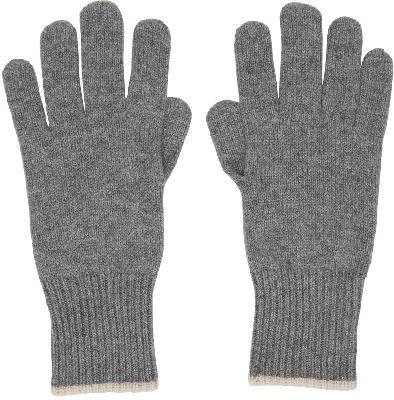 Brunello Cucinelli Grey Cashmere Gloves