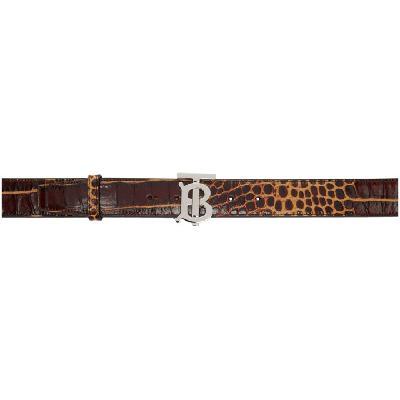 Burberry Brown Croc TB Belt