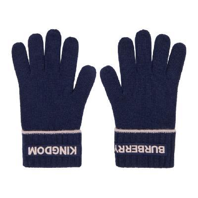Burberry Navy Cashmere Logo & 'Kingdom' Gloves