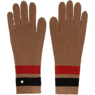 Burberry Tan Merino Monogram Gloves