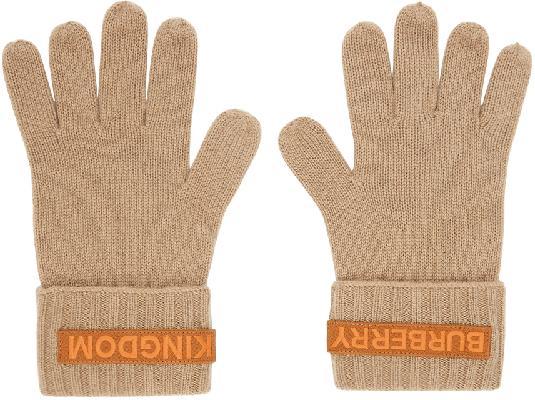 Burberry Beige Cashmere Logo & 'Kingdom' Gloves